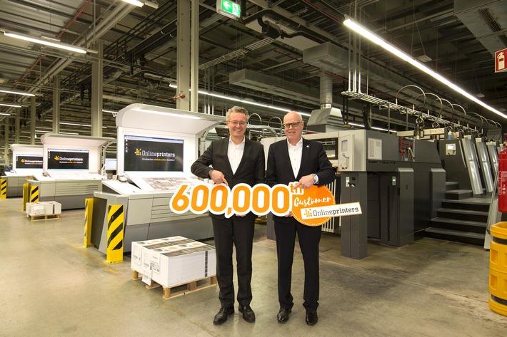 Erfolgsmeldung: Onlineprinters begrüsst 600 000. Kunden / Technologie-Partner Heidelberg gratuliert