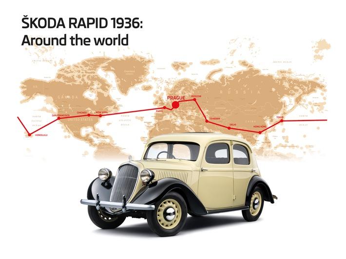 Vor 80 Jahren um die Welt: die Erdball-Umrundung des SKODA RAPID