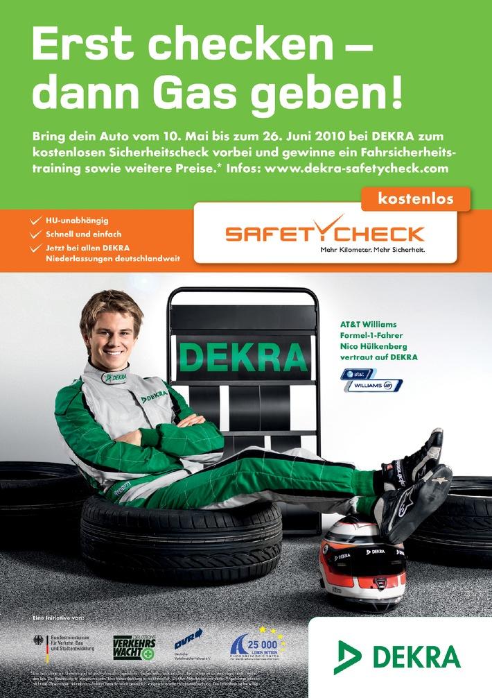 DEKRA SafetyCheck: 10. Mai bis 26. Juni / Nico Hülkenberg gibt Gas für mehr Sicherheit (mit Bild)
