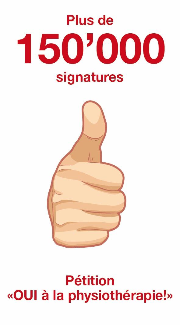 Plus de 150'000 signatures «Oui à la physiothérapie!» / Invitation à la conférence de presse et à la remise de la pétition