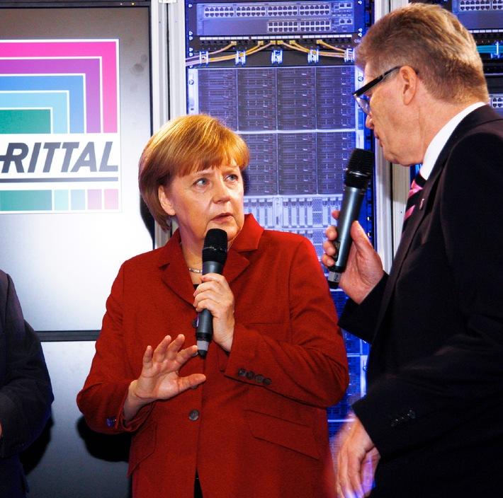 Angela Merkel und Donald Tusk besuchen Rittal auf der CeBIT 2013