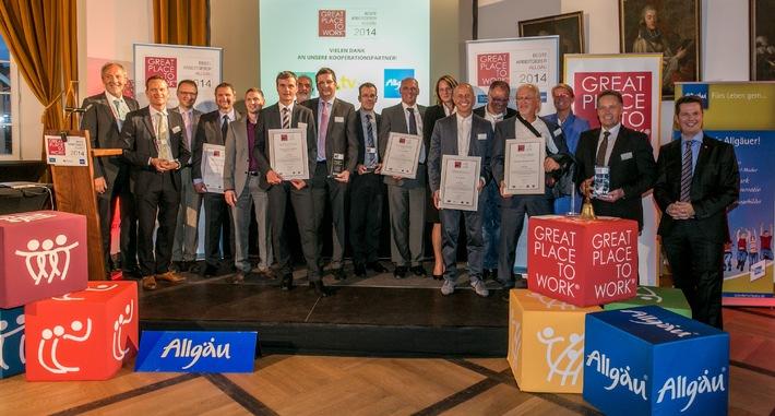 Beste Arbeitgeber im Allgäu 2014 ausgezeichnet