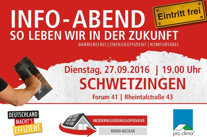 Sanieren lohnt sich / Infotainmentabend für Hauseigentümer  Modernisierungsoffensive macht am  27. September Station in Schwetzigen bei pro clima