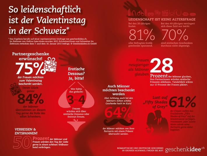 Studie: Schweizer lieben Überraschungen und knisternde Erotik zum Valentinstag