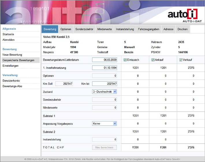 Professionelle Auto-i-DAT-Occasionsbewertung im Internet - Massgeschneiderte Wertermittlung für gebrauchte Autos und Motorräder