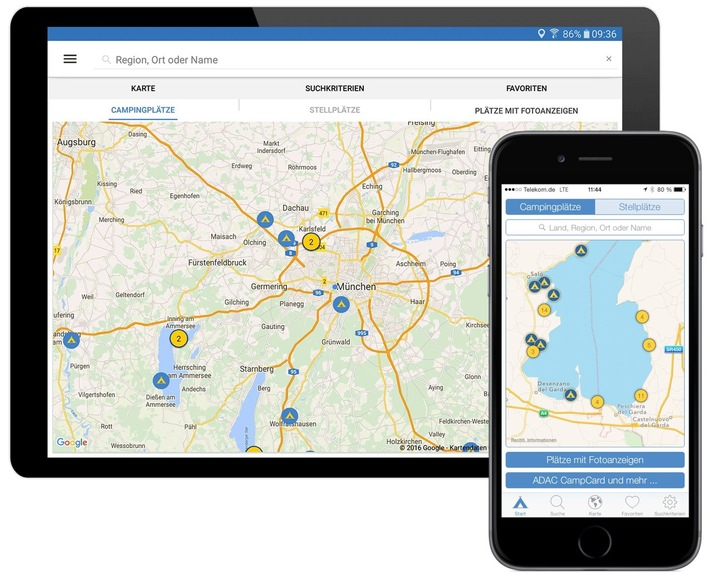 Digitale Urlaubsplanung leicht gemacht / Mit der neuen ADAC Camping App 2016 können Urlauber unter mehr als 13.000 Plätzen auswählen