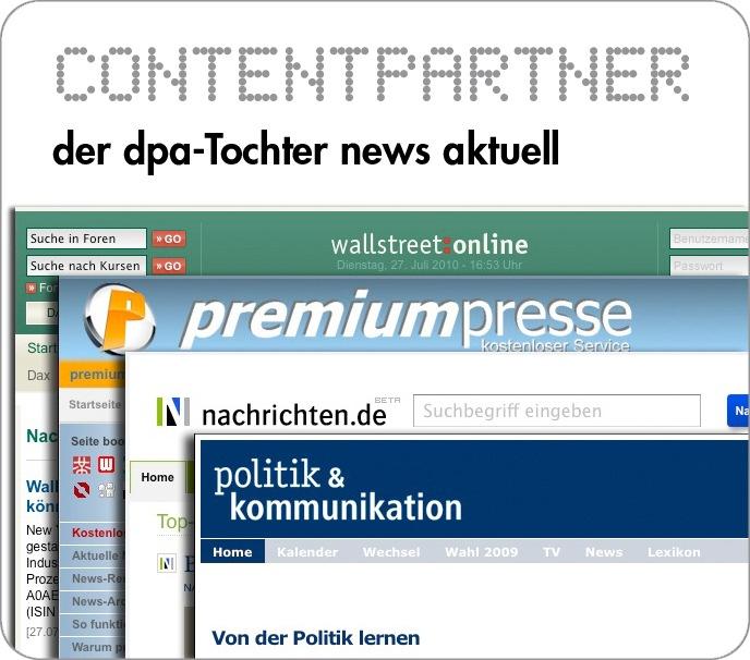 dpa-Tochter news aktuell jetzt mit mehr als 350 Web-Partnerschaften / Programmierschnittstelle (API) erfolgreich etabliert