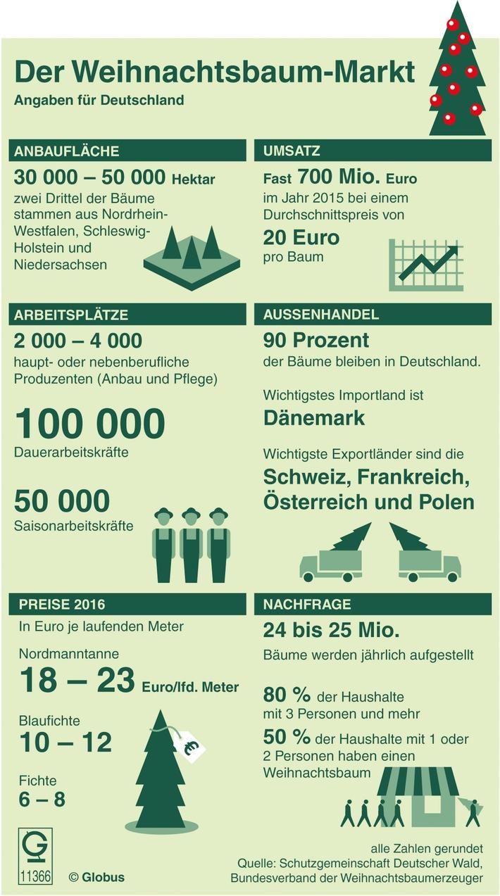 Fast 700 Millionen Euro Umsatz mit Weihnachtsbäumen