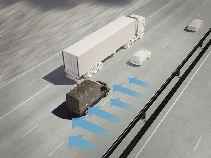 Hilfreich bei Windböen: der serienmäßige Seitenwind-Assistent des Ford Transit und des Ford Transit Custom