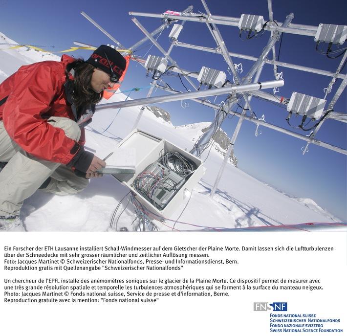 SNF: Bild des Monats Februar 2006: Energieaustausch zwischen  Bergluft und Schnee beeinflusst Lawinengefahr und Gletscherschmelze