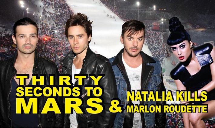 THIRTY SECONDS TO MARS, NATALIA KILLS und MARLON ROUDETTE beim Planai Ski-Opening 2011!