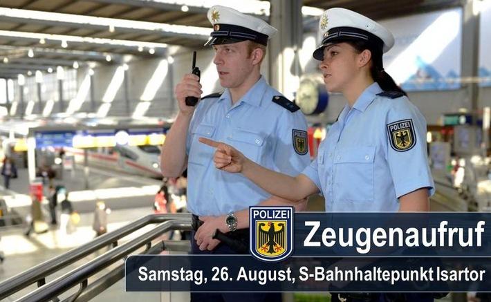 Bundespolizei München sucht Zeugen zu einer körperlichen Auseinandersetzung vom 26. August gegen 23:00 Uhr am S-Bahnhaltepunkt Isartor