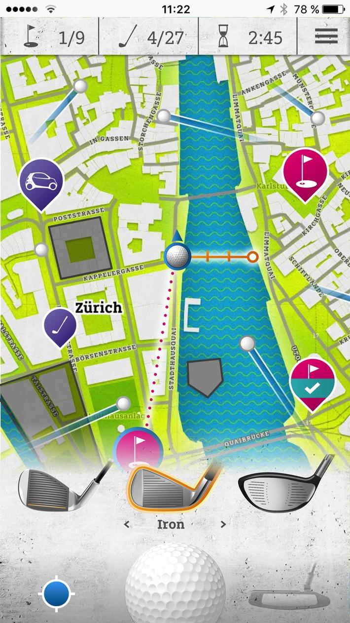"""Mein Smartphone ist jetzt auch ein Golfschläger / Neue Mixed Reality App """"smart urban golf"""" bringt Stadt-Golf aufs Handy"""