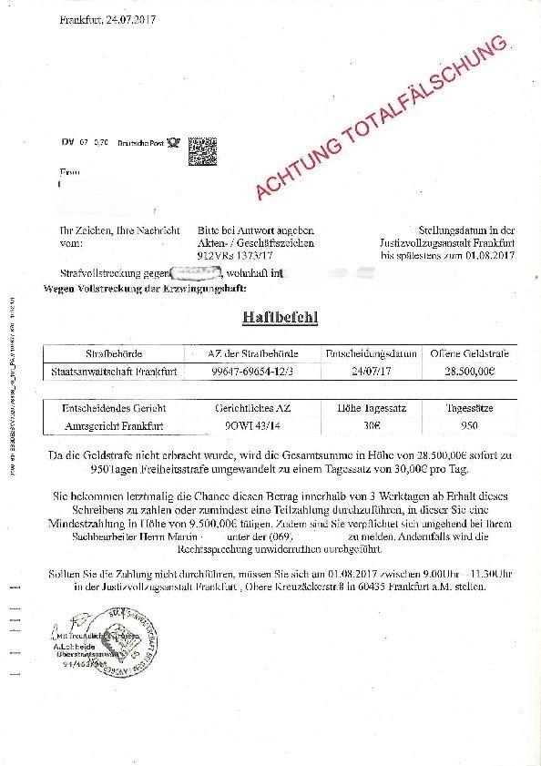 POL-PDNW: Bad Dürkheim - Betrüger stellen falschen Haftbefehl zu.