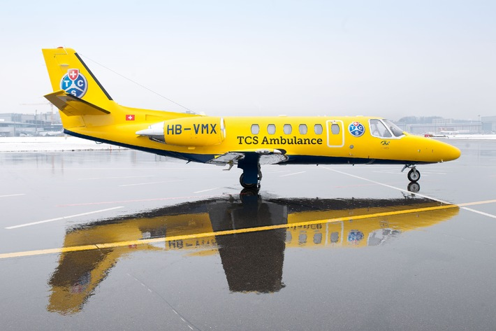 Neues Ambulanzflugzeug in den Farben des TCS