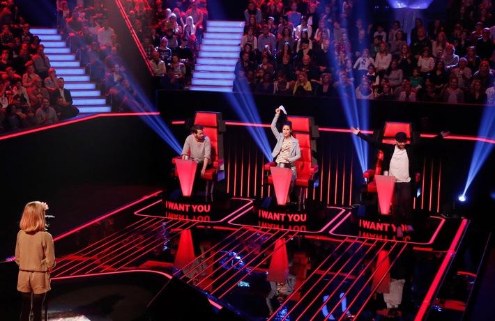"""Voll am Start! Mark Forster bringt Lena und Johannes in der ersten Blind Audition bei """"The Voice Kids"""" auf 180, am 27. Februar in SAT.1"""