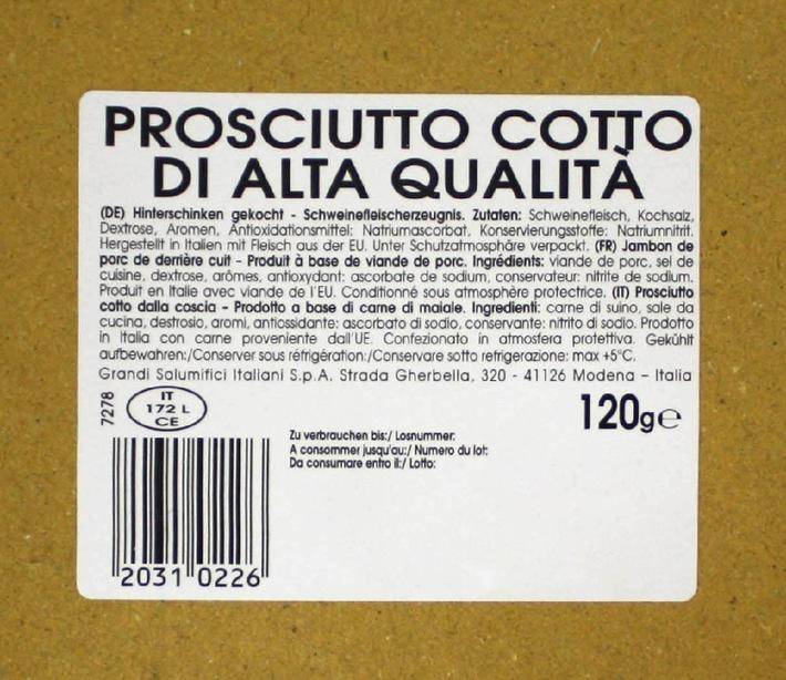 Rappel du produit: Le fournisseur Grandi Salumifici Italiani S.p.A., situé à Modène (Italie), informe du rappel du produit Prosciutto Cotto di Alta Qualità (jambon cuit italien, en tranches), 120g