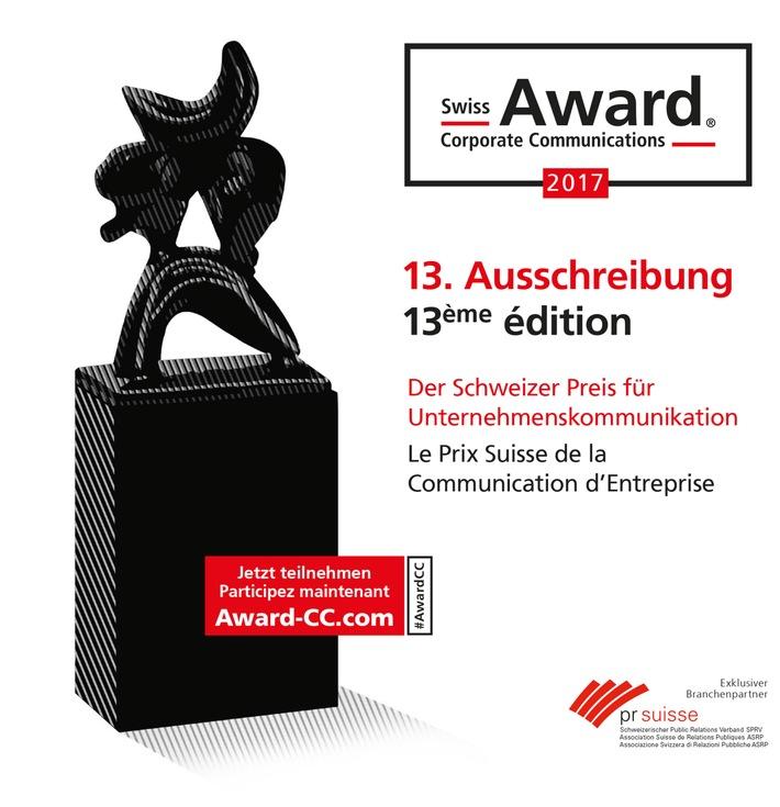 Wer sind die Besten der Branche? / Start der Ausschreibung für den 13. Swiss Award Corporate Communications®