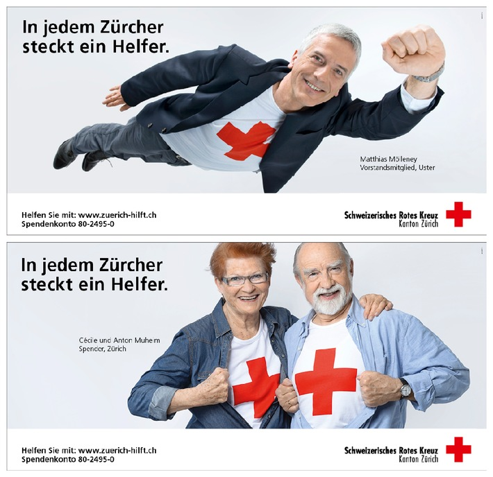 Werbekampagne des SRK Kanton Zürich: «In jedem Zürcher steckt ein Helfer»