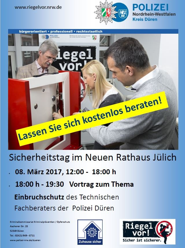 POL-DN: Sicherheitstag zum Thema Einbruchschutz in Jülich