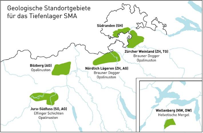 Nagra schlägt Standortgebiete für Tiefenlager vor