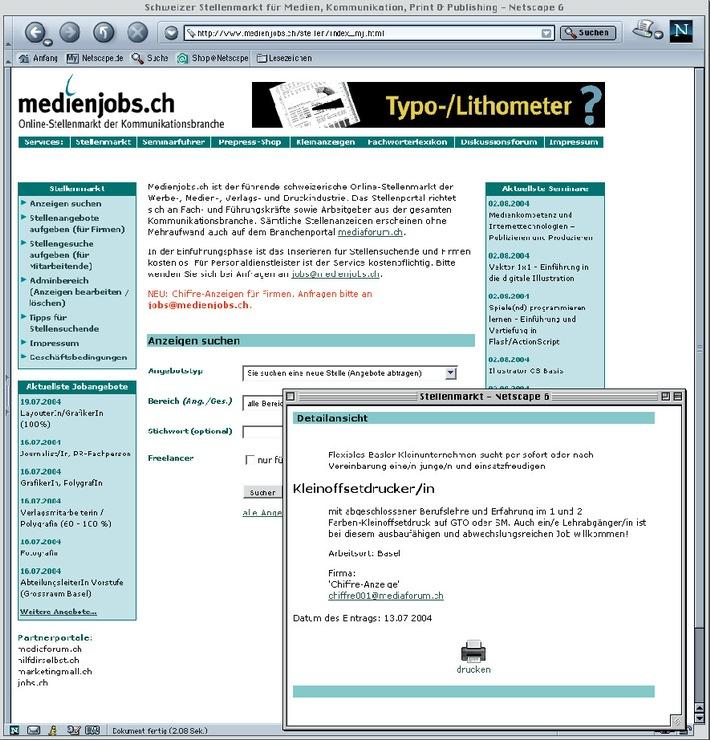 medienjobs.ch neu mit Seminarführer