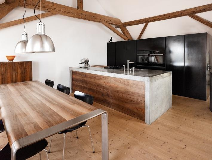 beton design erobert die k che medienmitteilung. Black Bedroom Furniture Sets. Home Design Ideas