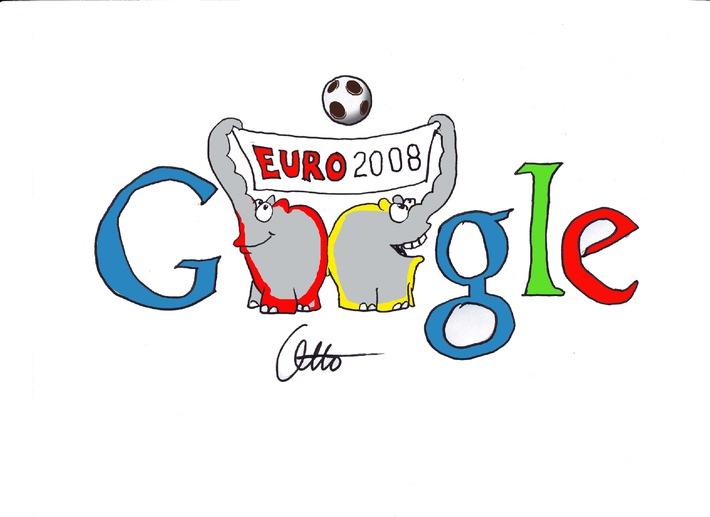 """Otto Waalkes verewigt seine Ottifanten in einem """"meisterschaftlichen"""" Google EM-Logo"""