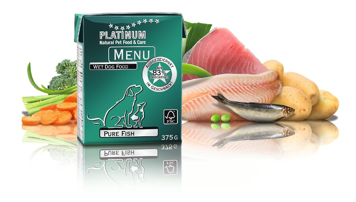 """""""Pure Fish"""": Die hochwertige Hundenahrungs-Produktfamilie PLATINUM MENU ist um eine neue Fisch-Variante erweitert worden"""