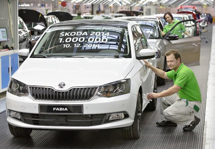 Meilenstein erreicht: SKODA produziert erstmals 1 Million Fahrzeuge in einem Jahr