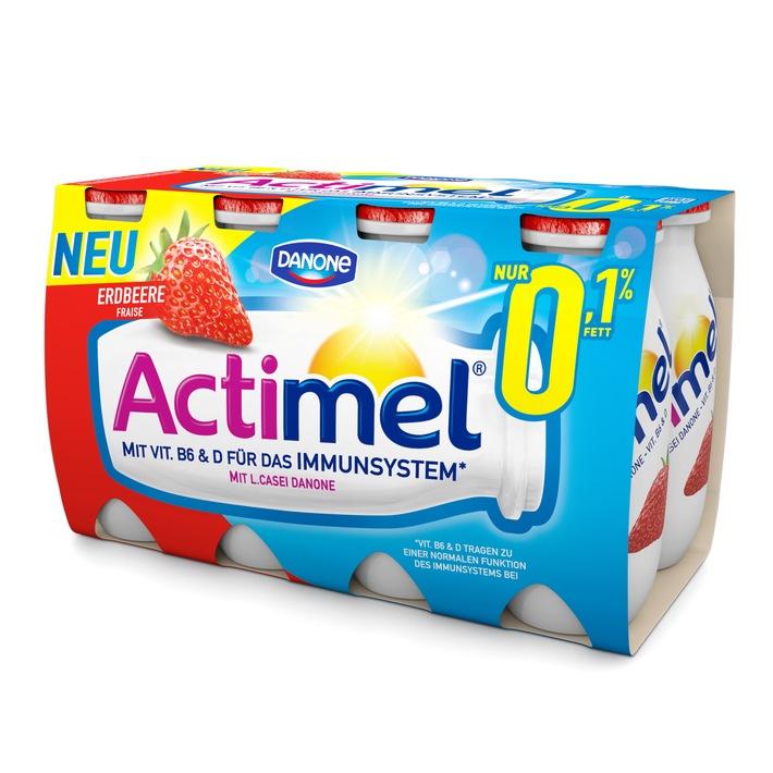 """""""Nimm's leicht"""" mit Actimel 0,1 % Fett / Die neue Sorte Actimel Erdbeere 0,1% - leicht und fruchtig"""