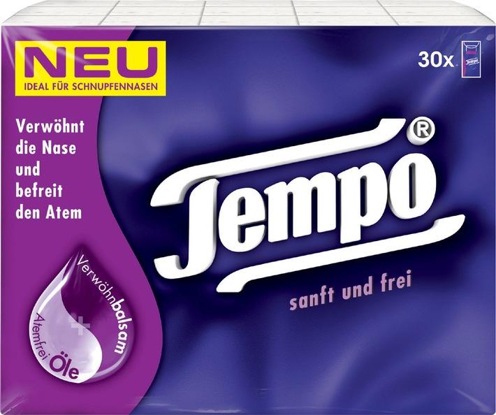 Tempo's Geheimtipp bei Erkältung - Das neue Tempo sanft und frei pflegt und befreit die Nase