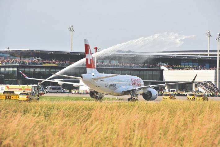 SWISS empfängt Bombardier CSeries in Zürich / Ankunft CSeries in Zürich