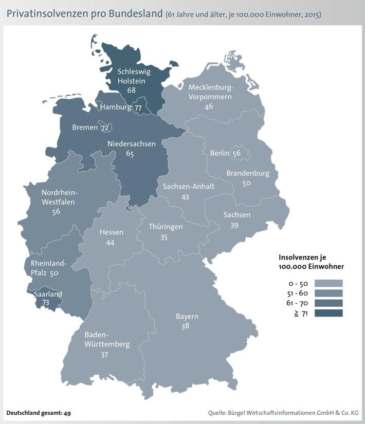 Vierter Anstieg in Folge - immer mehr ältere Bundesbürger müssen eine Privatinsolvenz beantragen / Privatinsolvenzen im Alter: Hamburg am stärksten betroffen