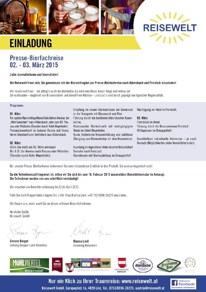 Einladung zur Presse-Bierfachreise vom 1. bis 3. März 2015