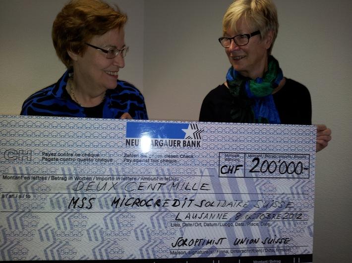 L'Union Suisse du Soroptimist International donne CHF 200'000 à la Fondation Microcrédit MSS