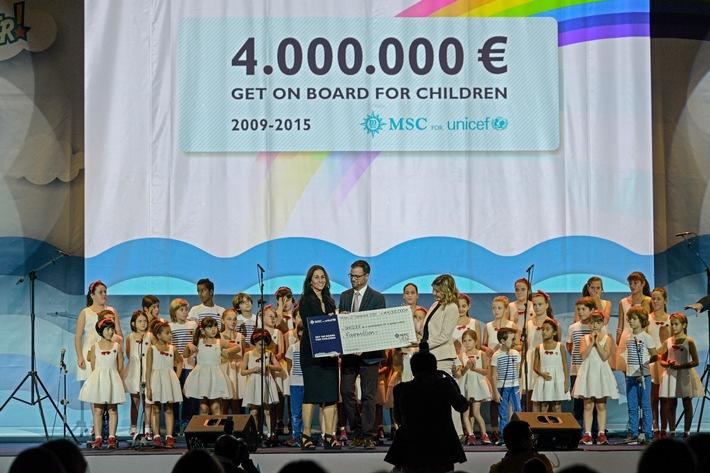 MSC Cruises récolte 4 millions d'euros pour l'UNICEF / Des centaines d'enfants réunis à l'occasion de cette annonce célébrée  à Milan Expo 2015