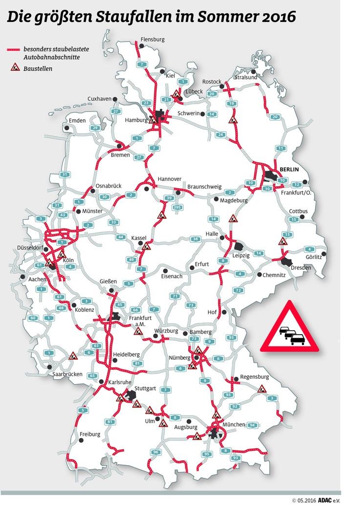 Verkehrslage auf den Fernstraßen spitzt sich zu / ADAC-Stauprognose für das Wochenende 15. bis 17. Juli
