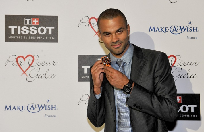 Tissot presents Tony Parker with his limited edition watch at the Par Coeur Gala near Lyon