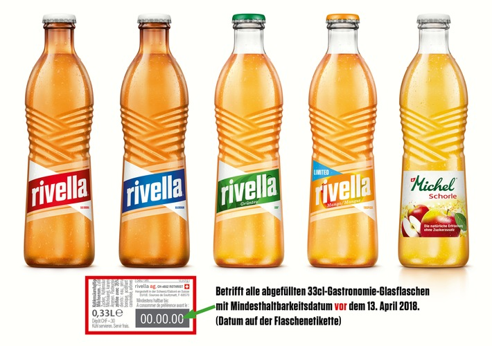 Rivella ruft ihre Gastronomie-Glasflaschen zurück - PET und Aludosen sind nicht betroffen / Produkterückruf nach Fund von Glasresten