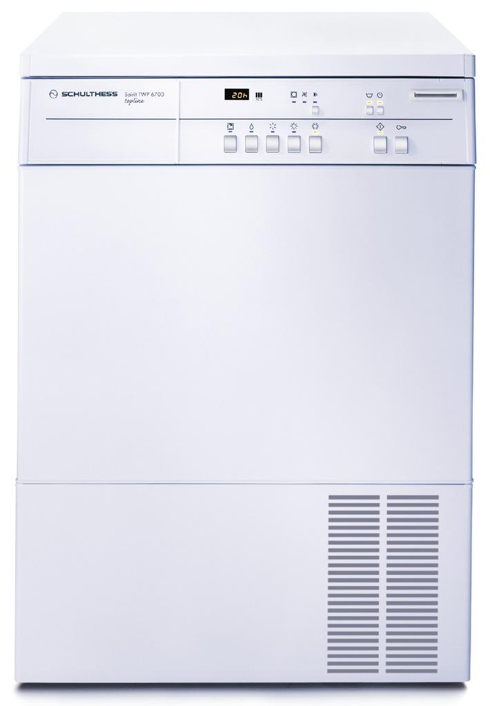 Une première mondiale: économies d'énergie avec le nouveau Schulthess Spirit topline TWP 6700 - le premier sèche-linge de 6,5 kg avec pompe à chaleur intégrée
