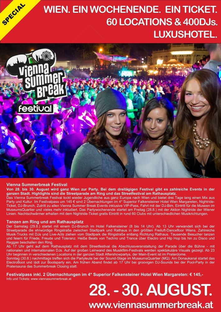 VIENNA SUMMERBREAK FESTIVAL: Ein Wochenende. Ein Ticket. 60 Locations. 400DJs. Luxushotel