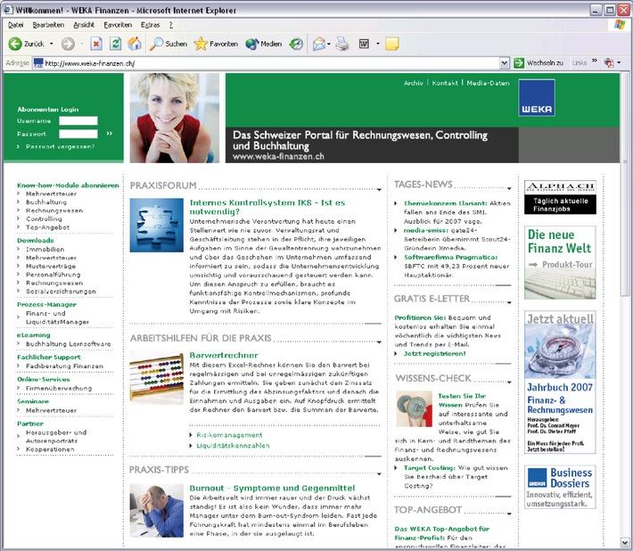 WEKA Verlag: Innovatives Finanz-Online-Portal für Verantwortliche in Rechnungswesen, Controlling und Buchhaltung