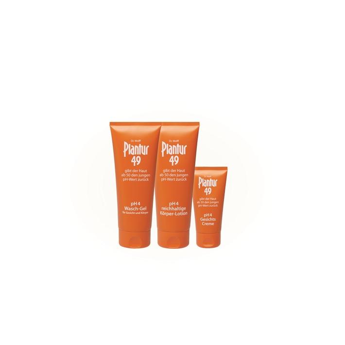 Die erste altersgerechte pH4 Hautpflegeserie - Plantur49 / Neue Erkenntnis: pH-Wert der Haut steigt im Alter / Wissenschaftler fordern angepasste Hautpflege