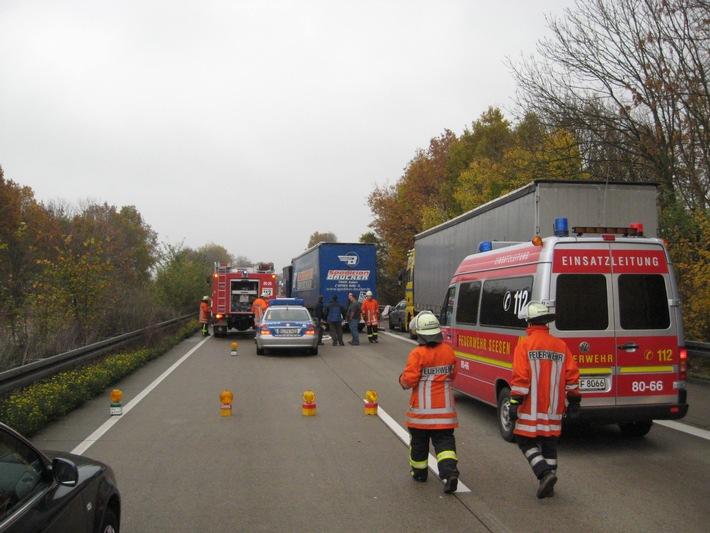 POL-HI: BAB 7, LK Goslar --- Auffahrunfall mit vier Sattelzügen und zwei verletzten Personen