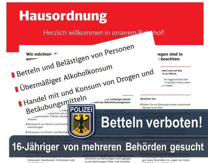 Immer wieder wird die Bundespolizei zu Hausrechtsmaßnahmen der Deutsche Bahn Sicherheit gerufen. Ein von fünf Staatsanwaltschaften gesuchter und zugleich vermisster 16-Jähriger wurde am Sonntagabend Jugendbehörden zugeführt.