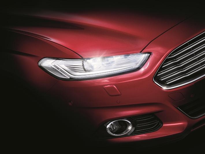 Der neue Mondeo ist erstes Ford-Fahrzeug in Europa mit innovativen LED-Frontscheinwerfern