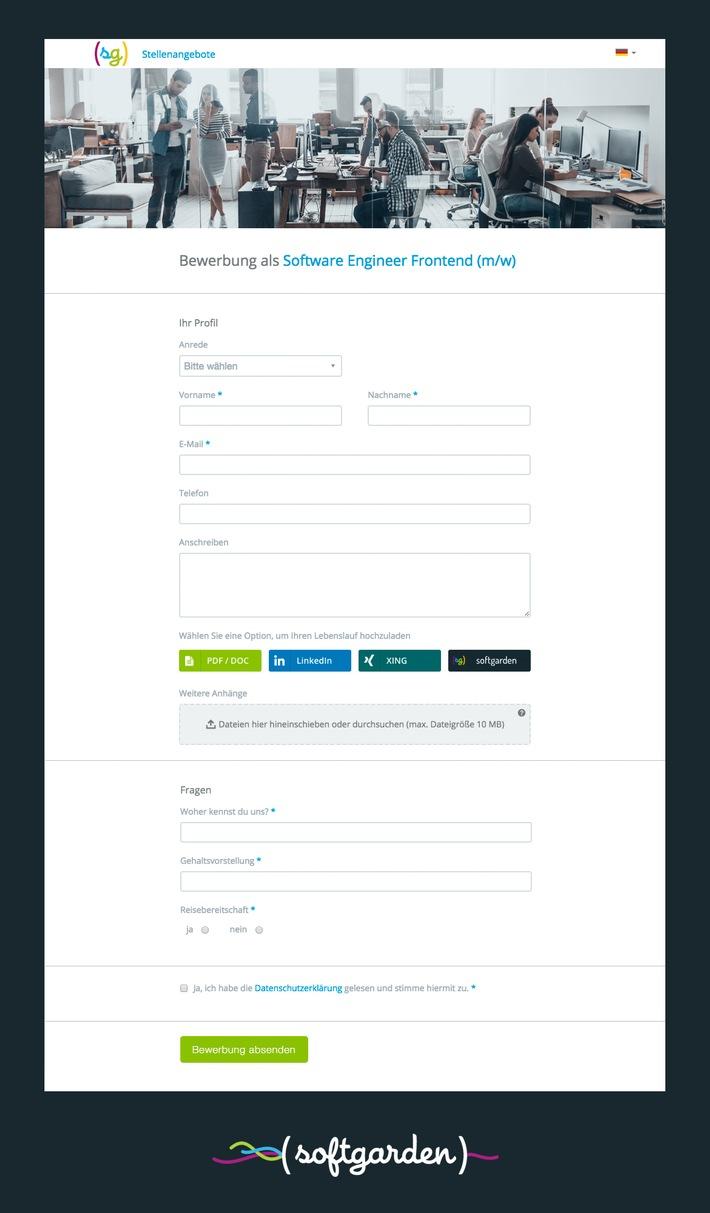 Schnelle Bewerbung - strukturierte Daten / Neues Bewerbungsformular von softgarden stellt Recruiter und Kandidaten zufrieden