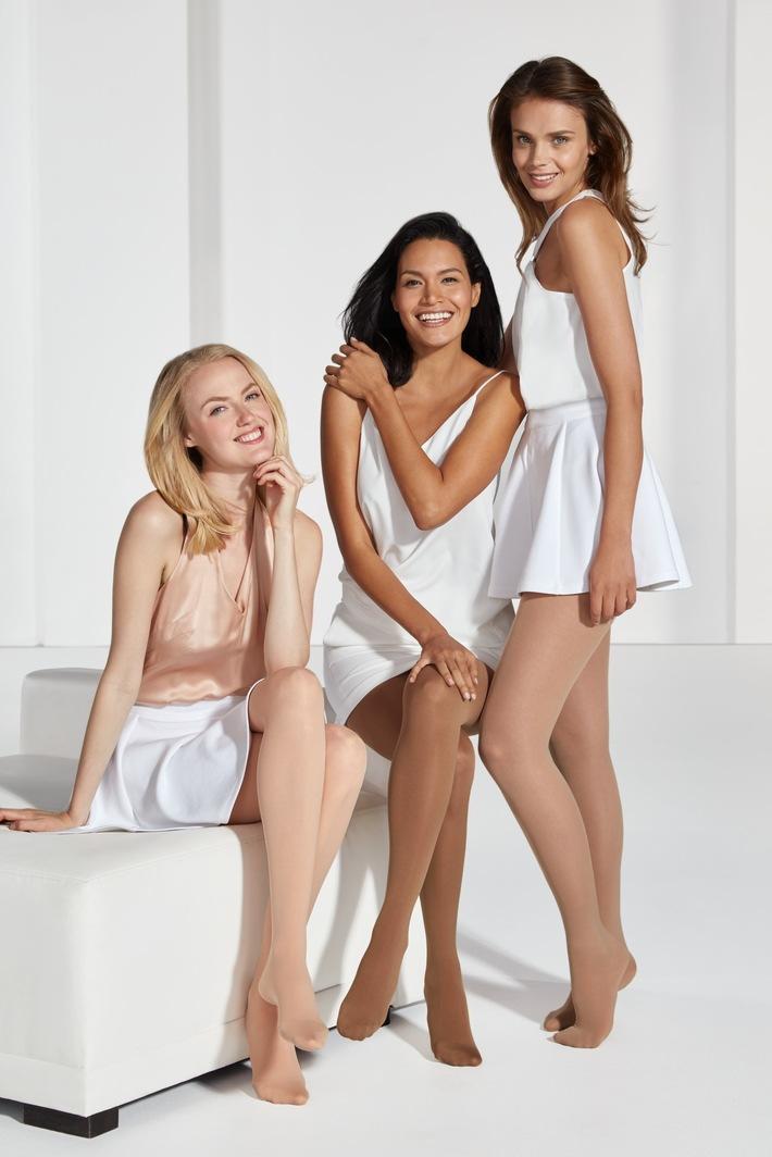Trendfarben in Hauttönen gehen in die Verlängerung: Leichte, fitte Beine mit Kompressionsstrümpfen im Sommer