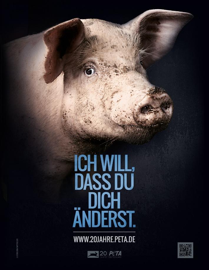 """20 Jahre PETA Deutschland e.V. - bundesweite Plakatmotive zum Jubiläum, auf denen die Tiere zu Wort kommen: """"Ich will, dass Du Dich änderst"""""""